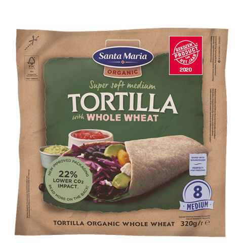 Packet with eight organic whole wheat tortillas