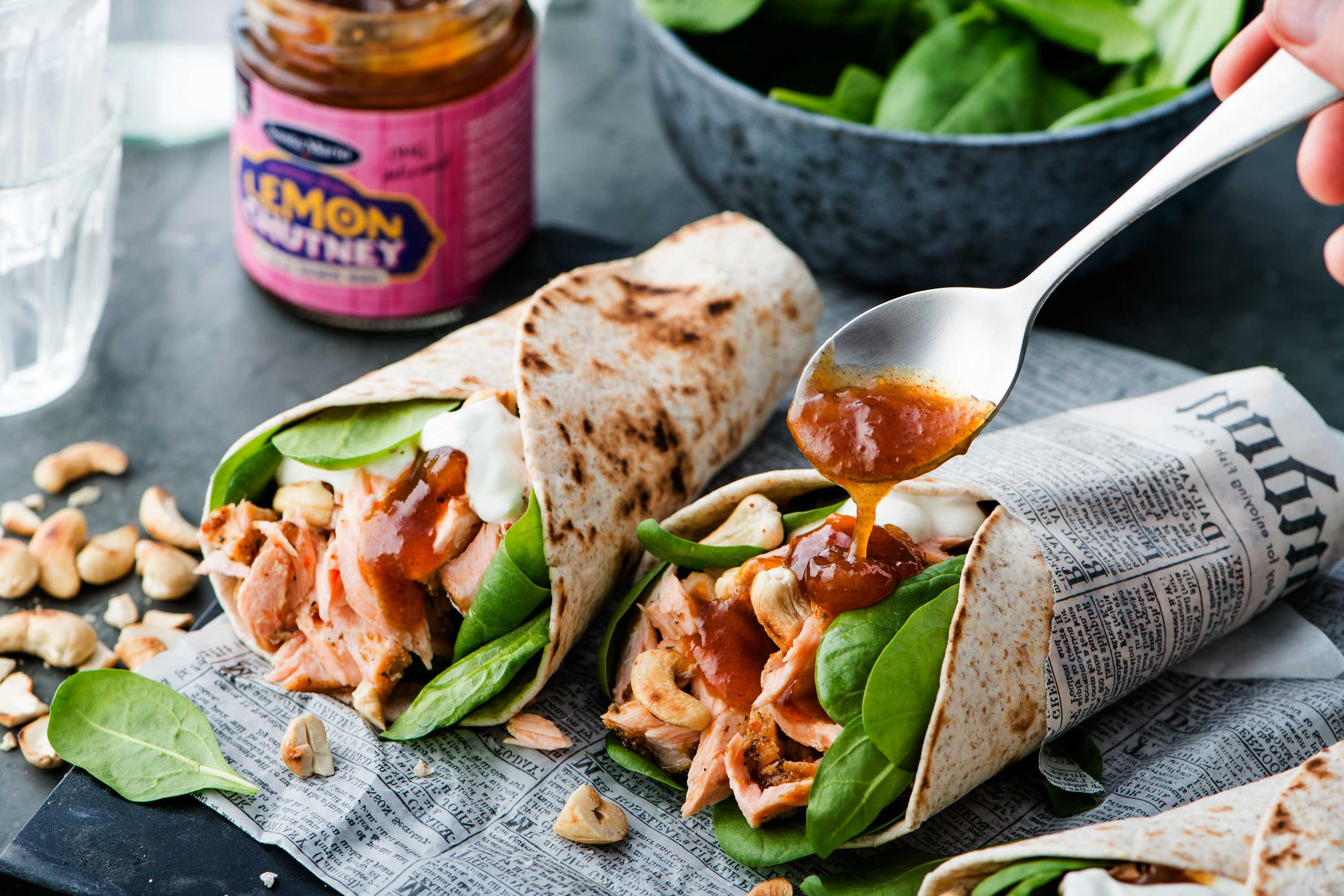 Pulled salmon wraps