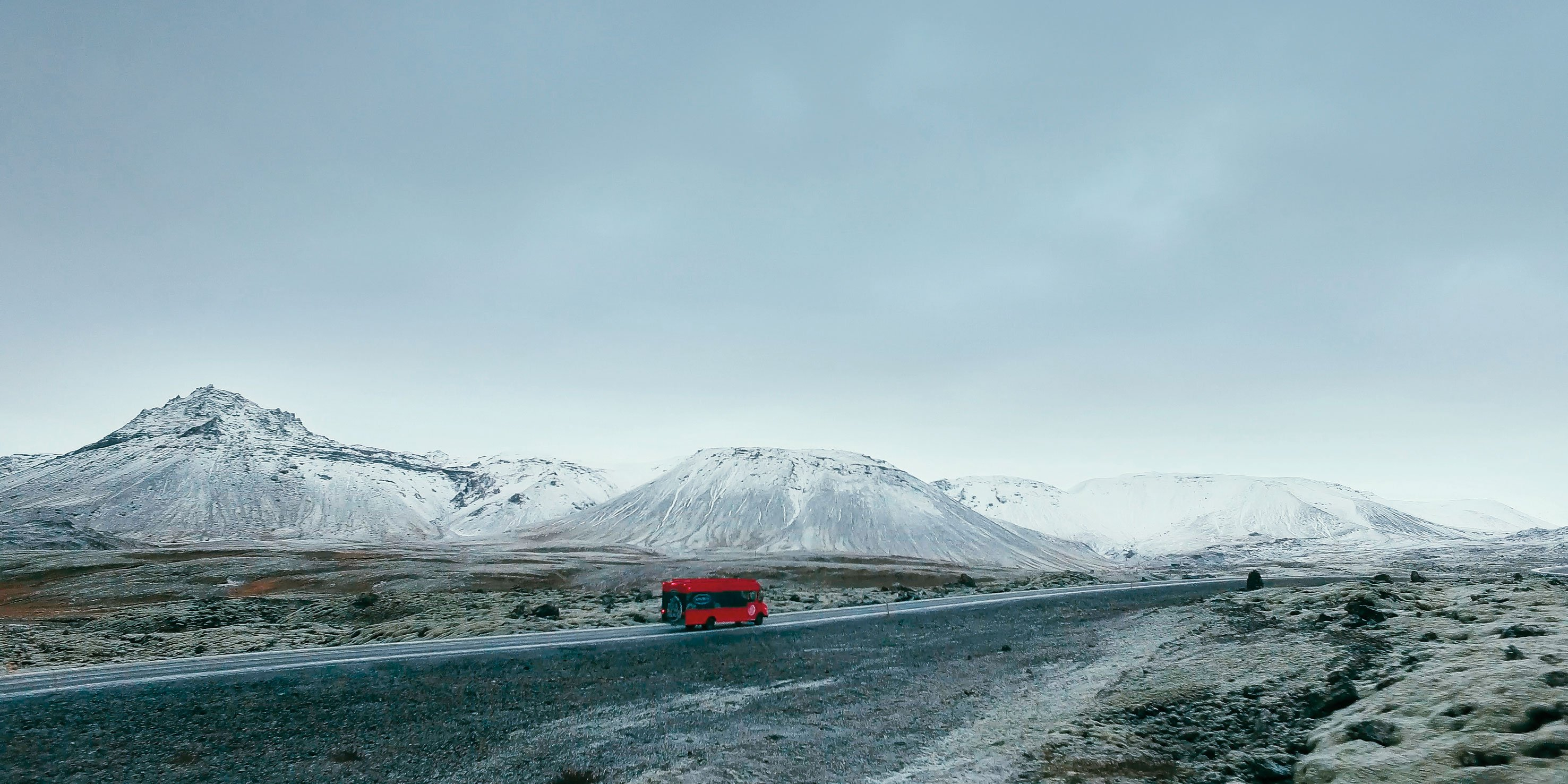 The Santa Maria food truck on the way to  a research station by a volcano in Iceland.