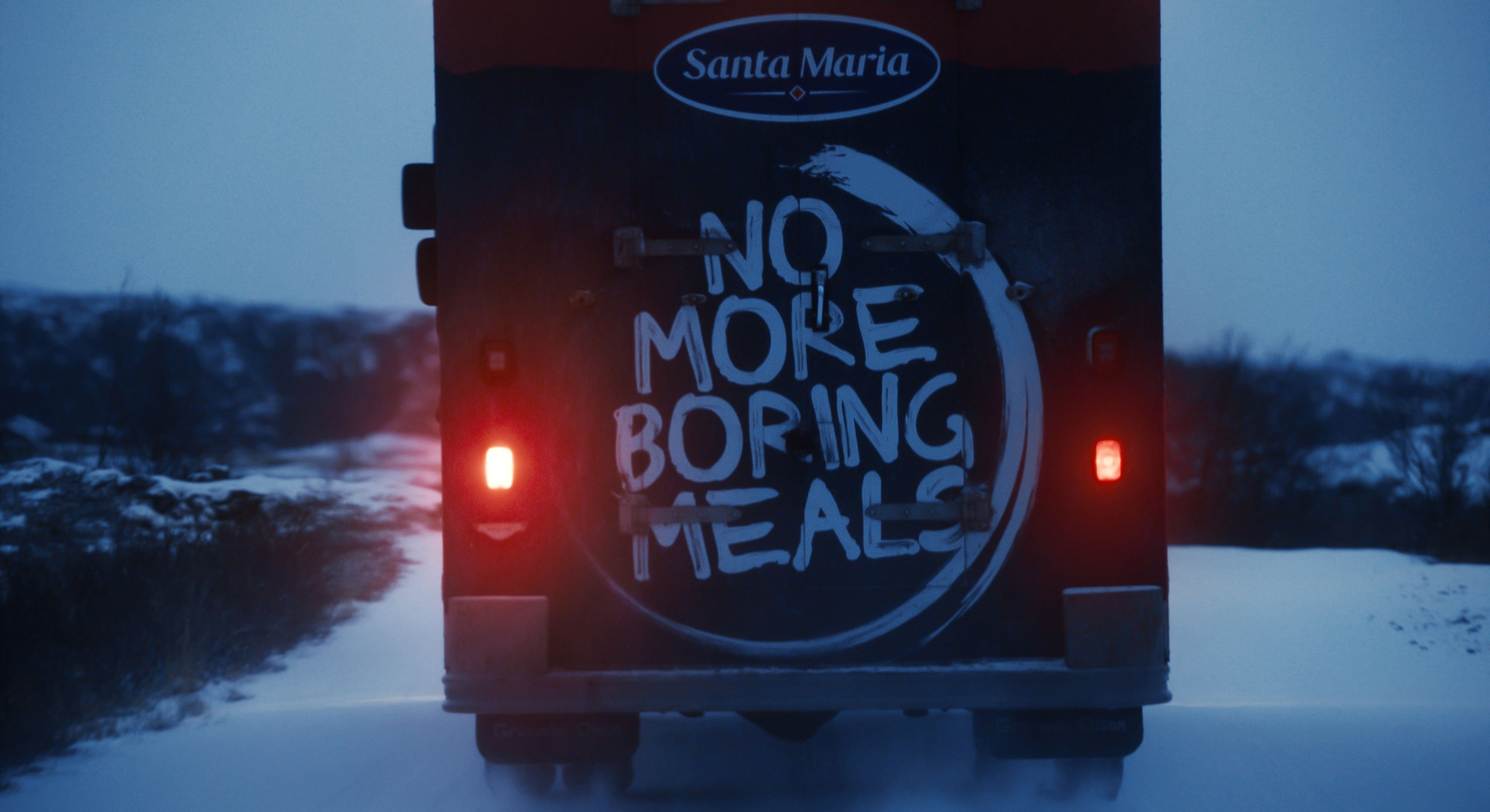 No More Boring Meals stamp on bus