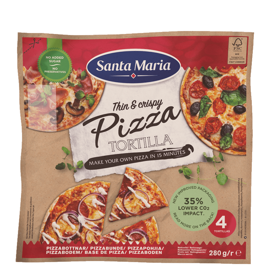 Packet with four pizza tortillas