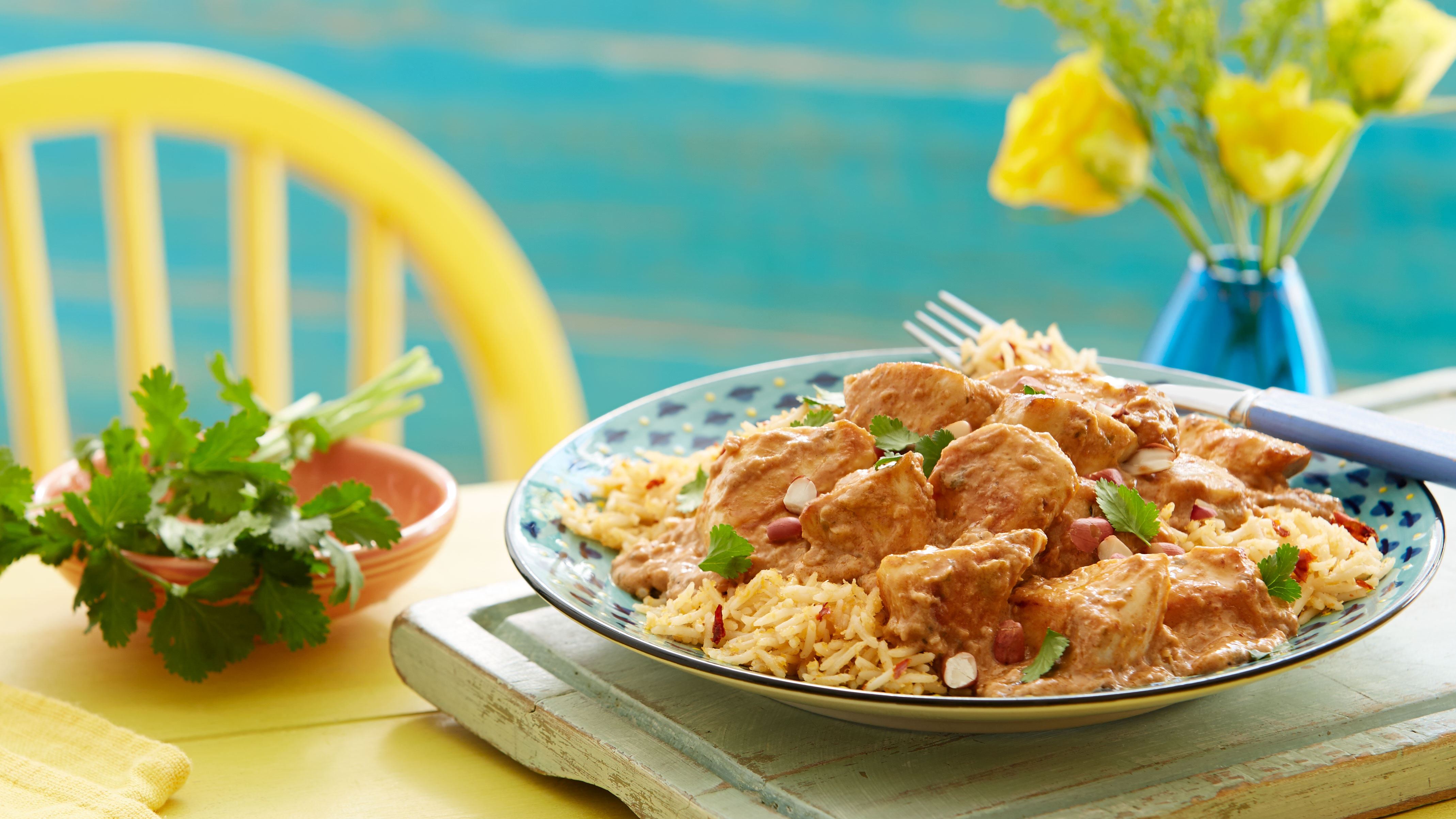 Brazilian Xinxim Peanut Chicken with Coconut & Chilli Rice