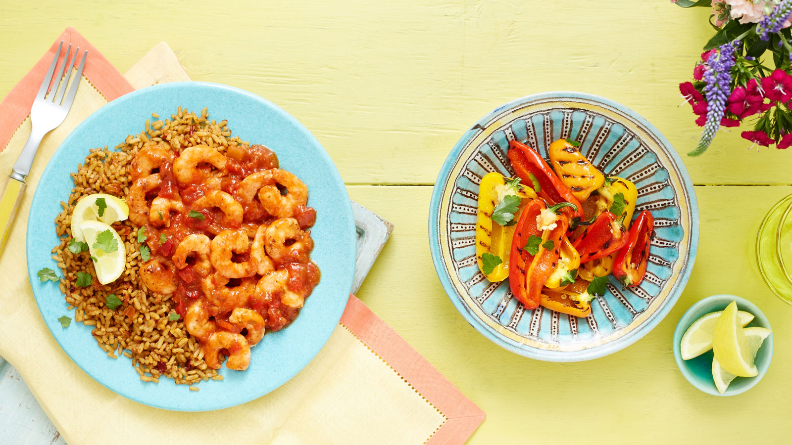 Peruvian Garlic & Tomato Prawns with Spicy Red Rice