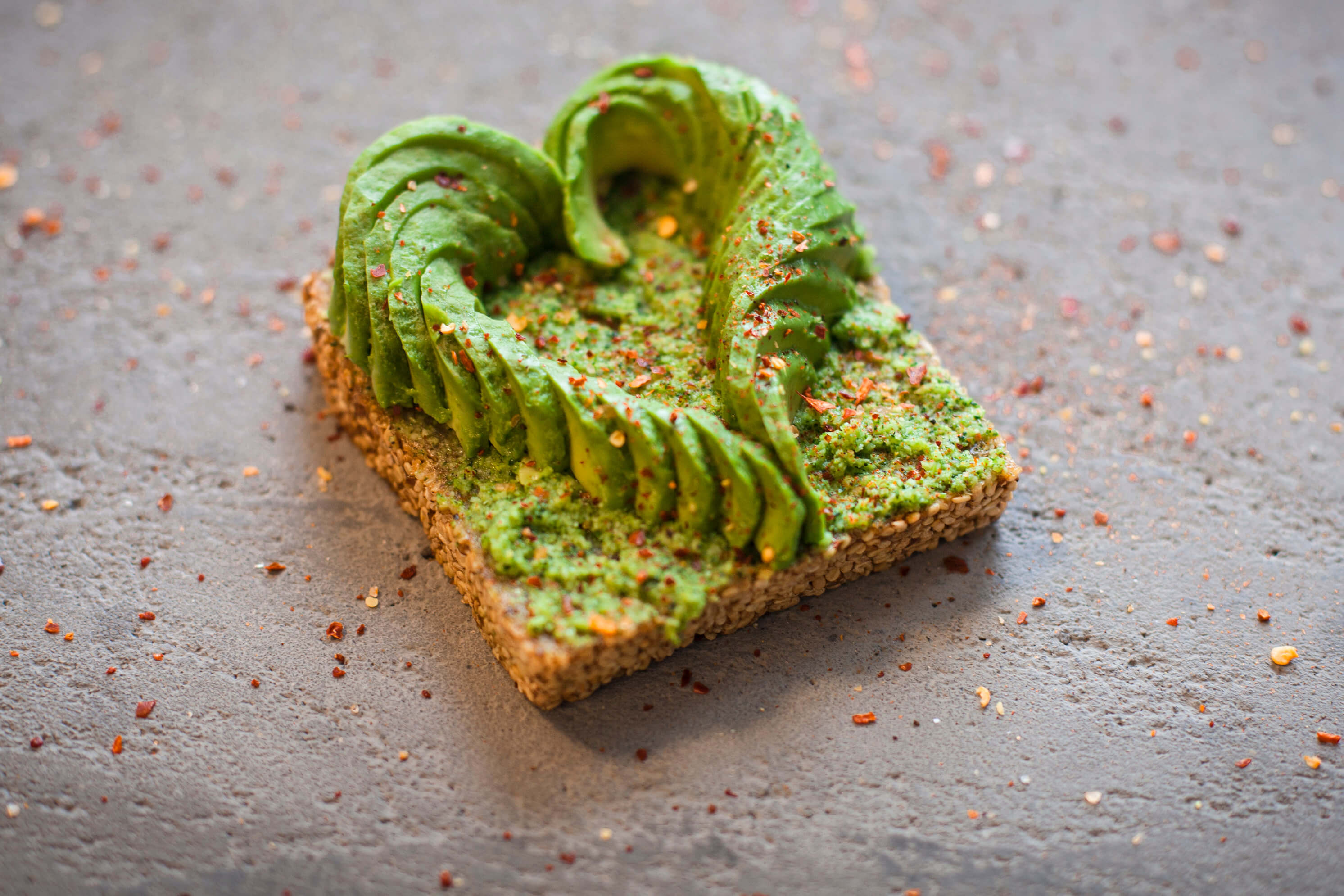 Avocado on toast with broccoli pesto