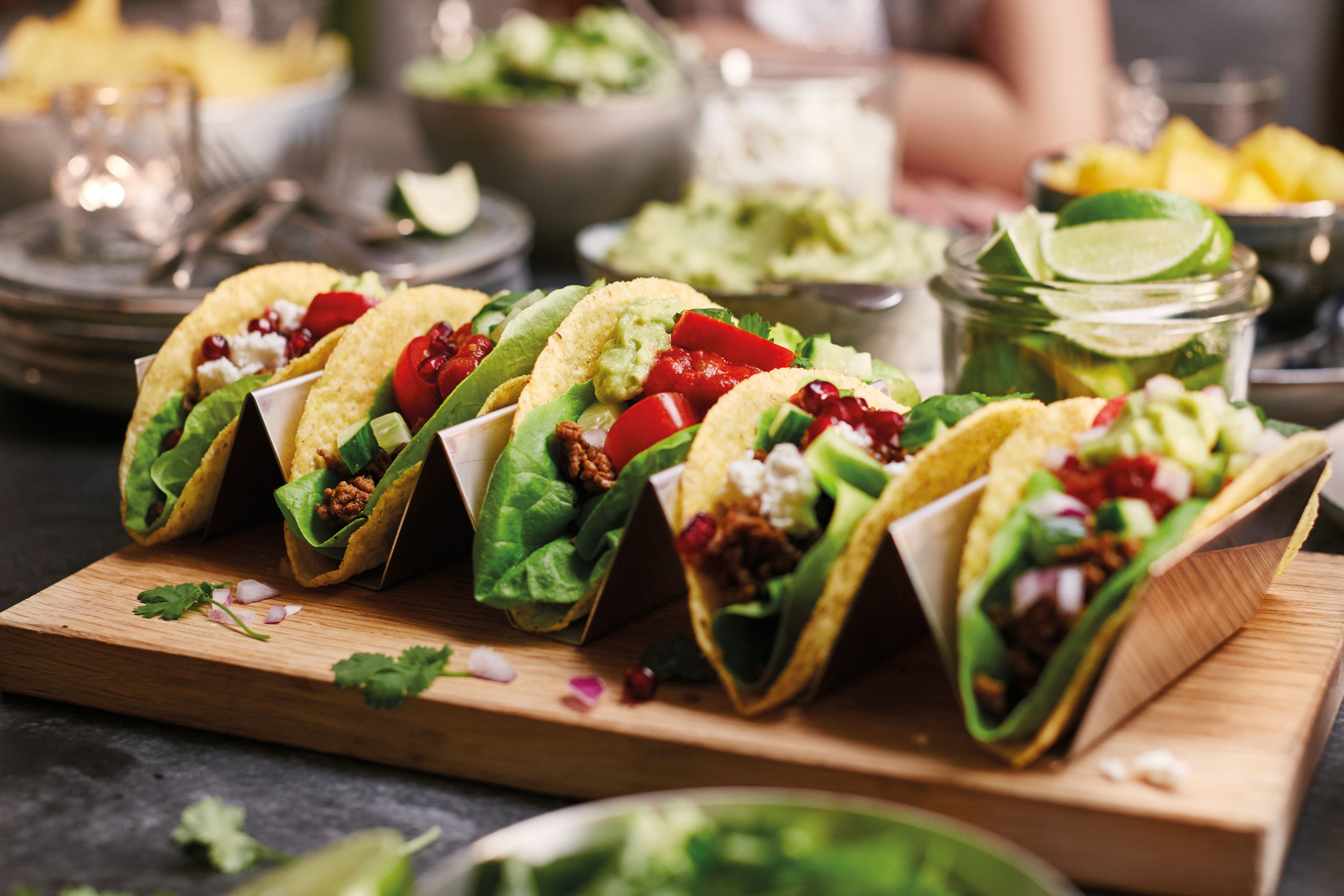 Tacos with Feta Cheese and Pomegranate