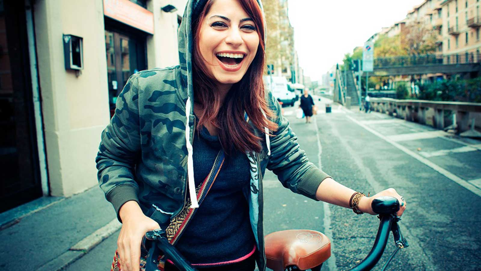 happy girl with a bike