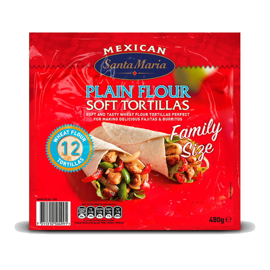 Plain Flour Soft Tortillas Family Size