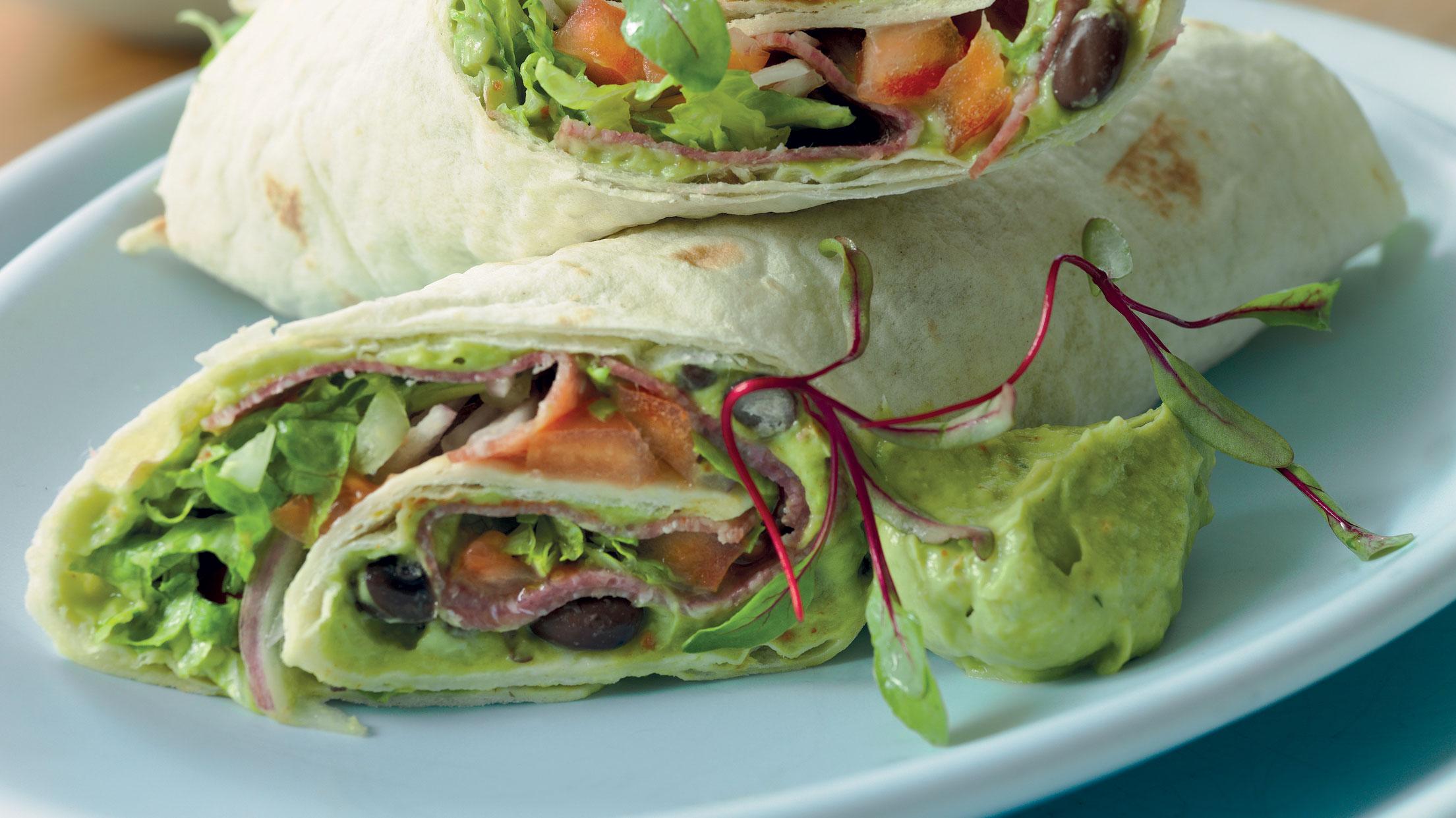 Bean and chorizo wrap