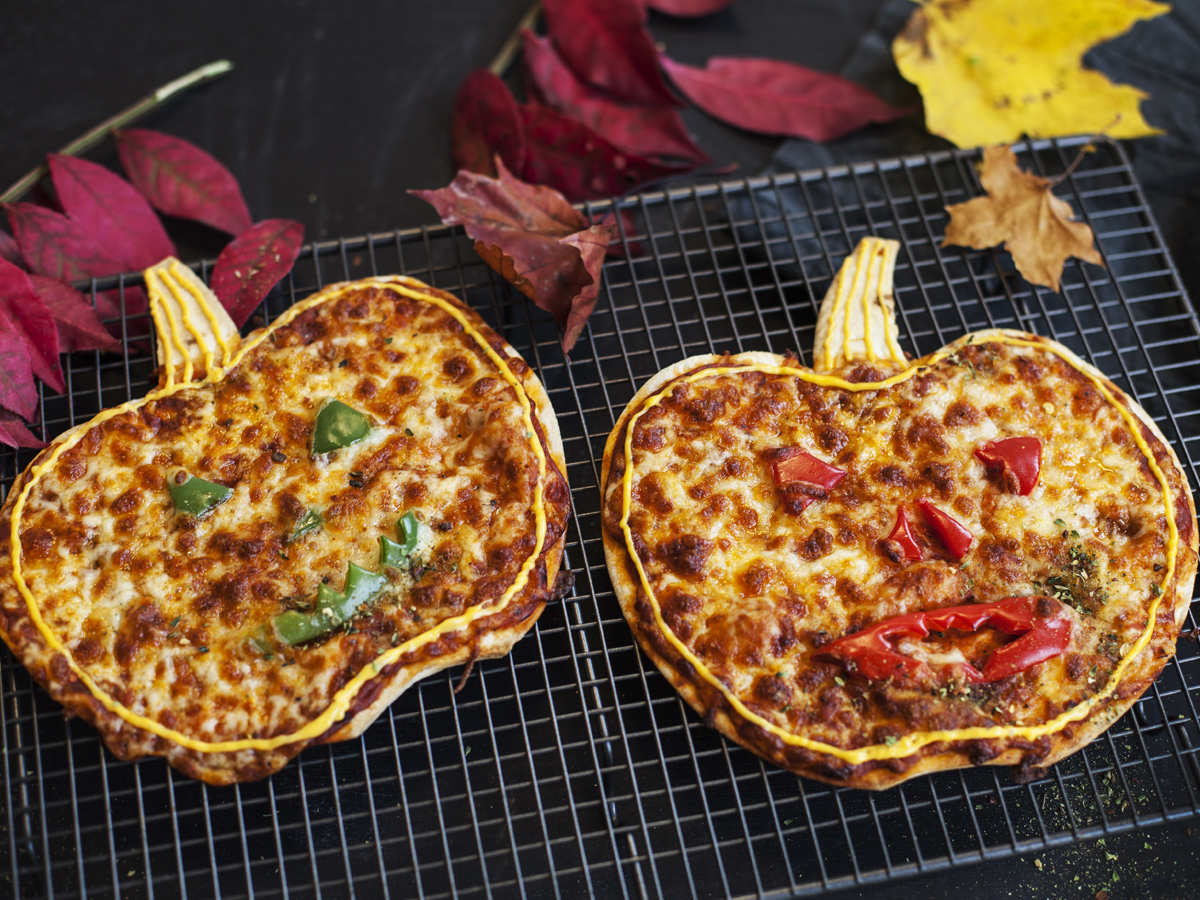 Pumpkin shaped pizzas