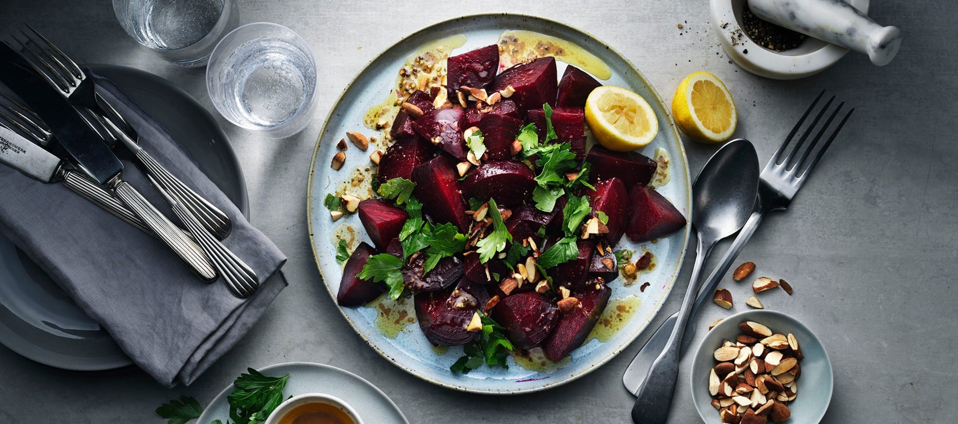 Beetroots with browned spicy butter topped with roasted almonds