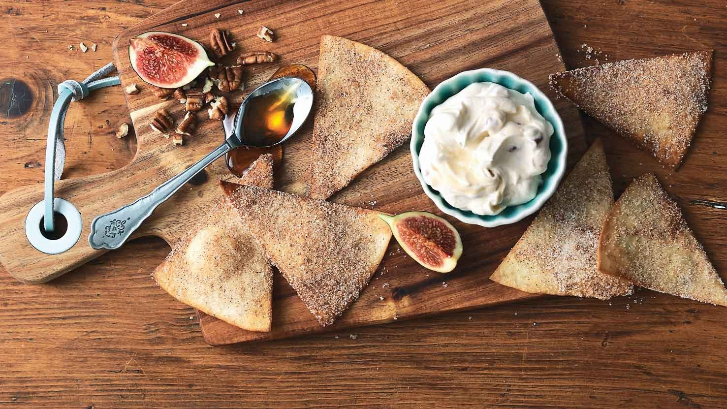 Cinnamon Tortilla Chips with Creamy Maple Pecan Dip