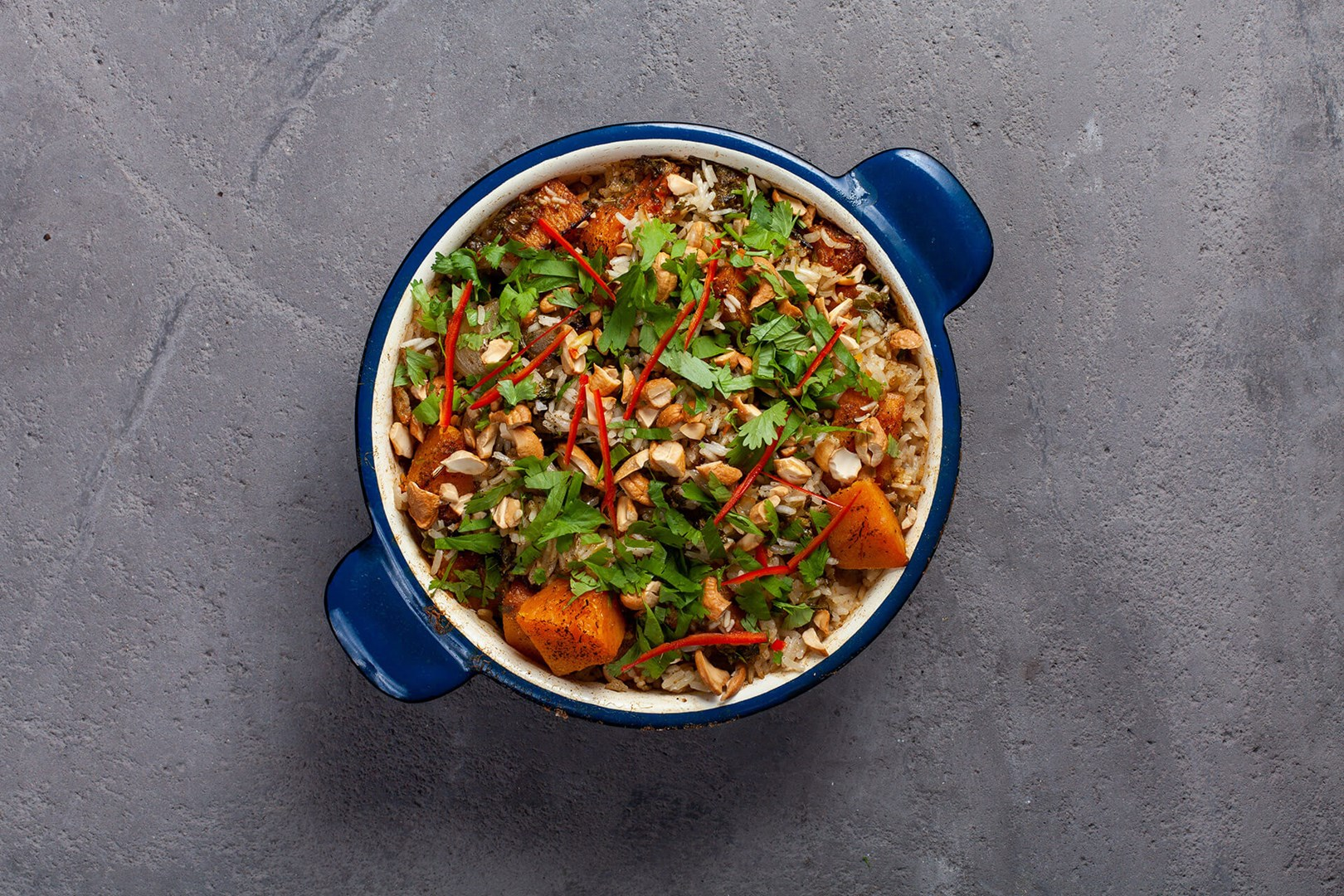 Dish with vegetarian biryani with butternut squash
