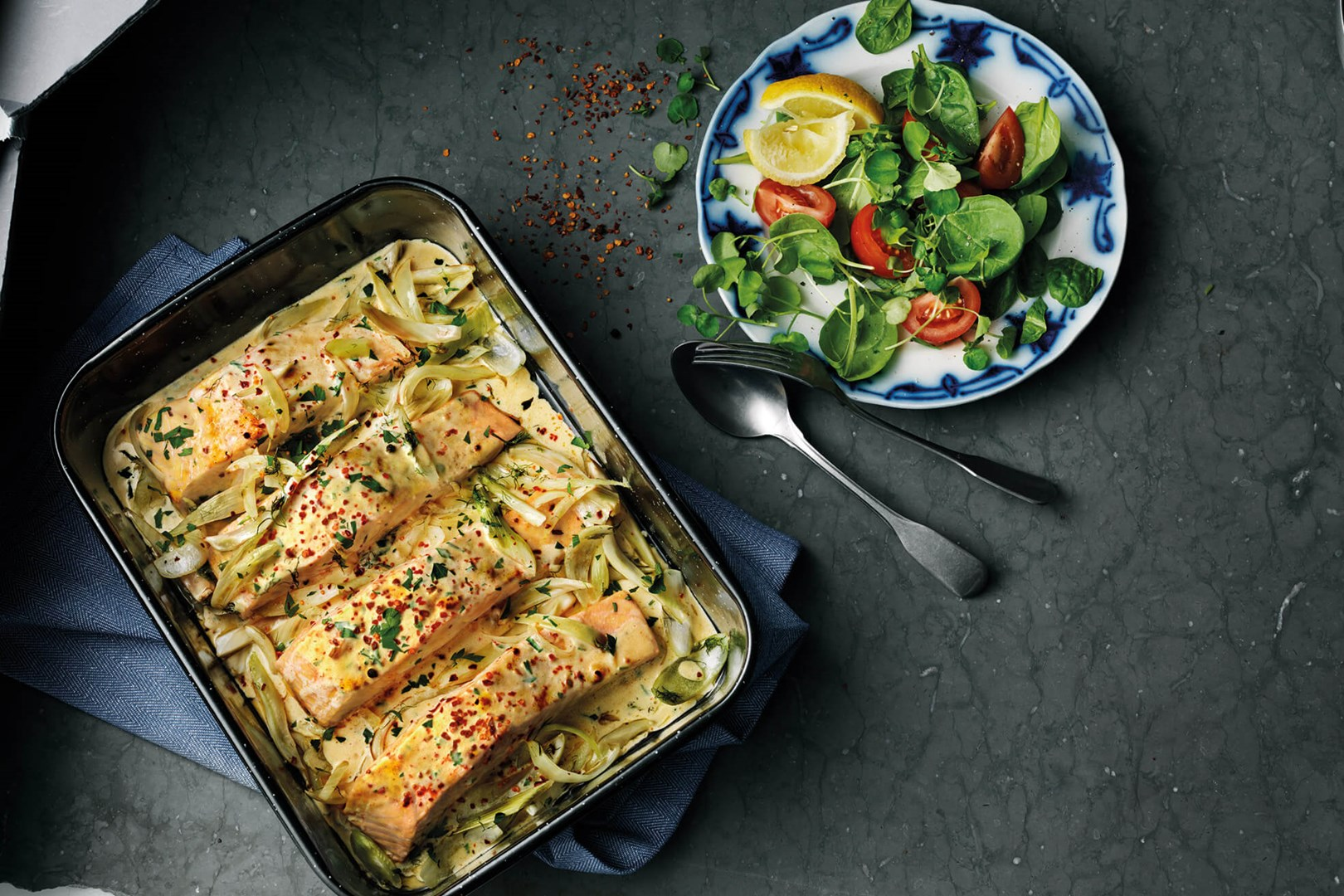creamy salmon in an oven tray