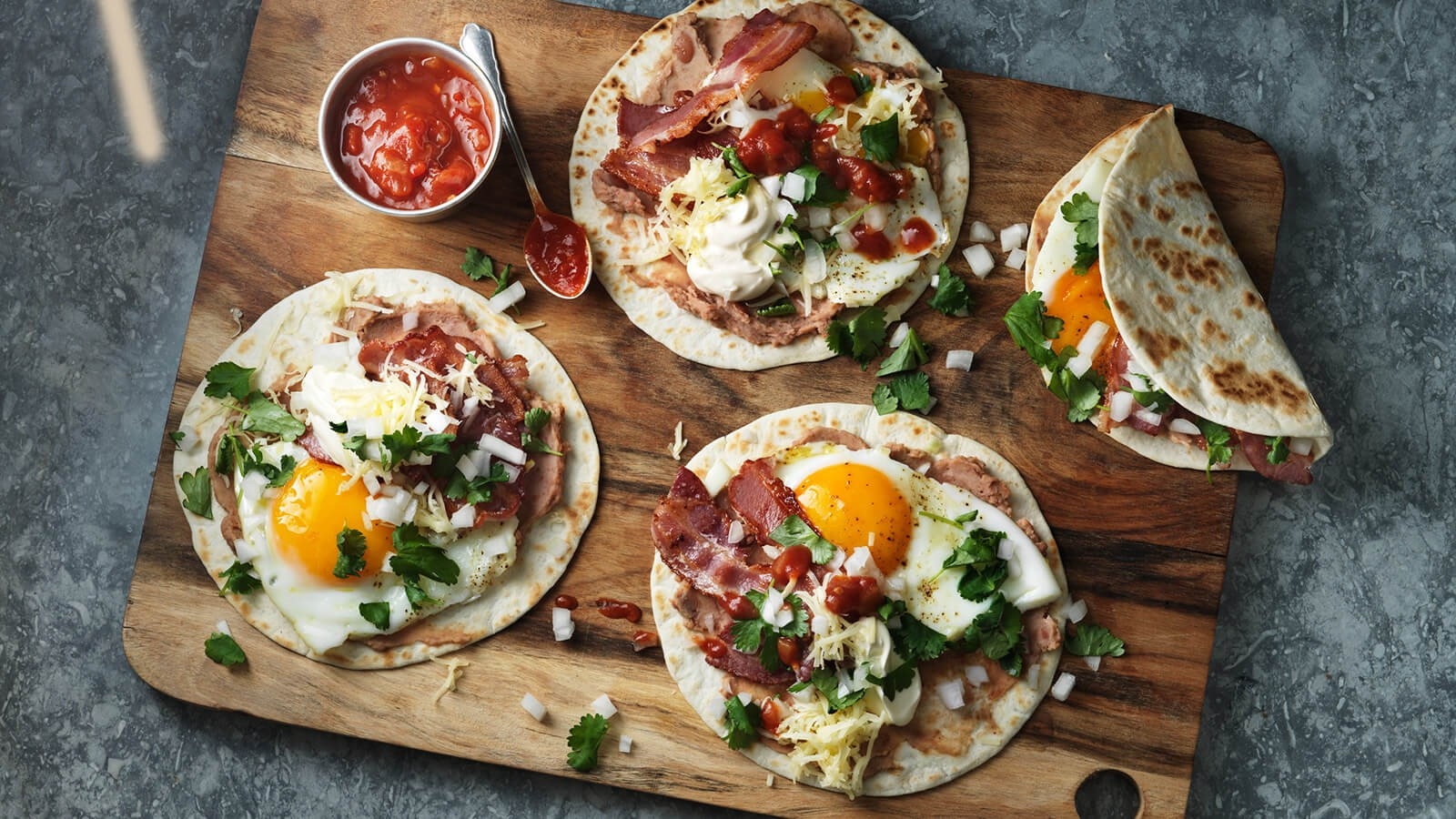 Brunch tacos with bacon and eggs