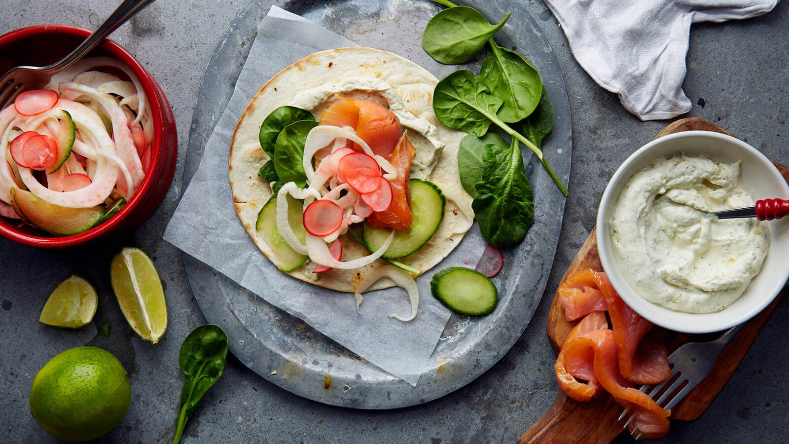 Taco with smoked salmon with pickled veggies