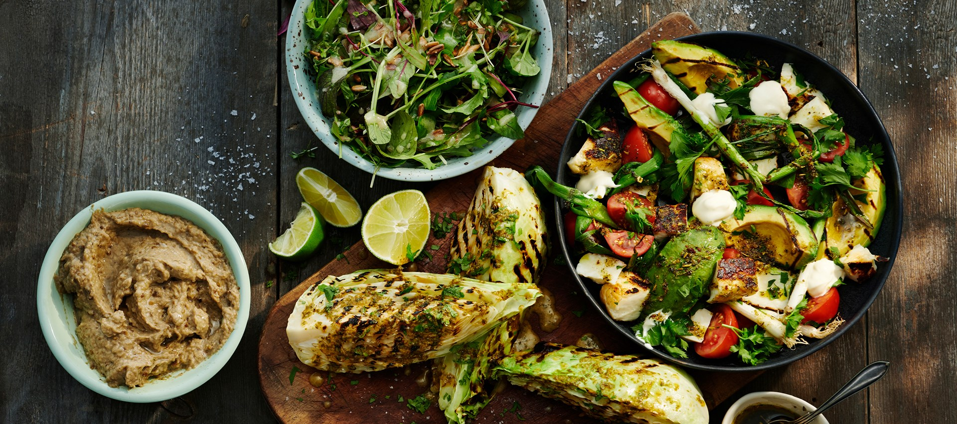 Baba Ganoush, grilled asian cabbage, garden salad & grilled halloumi salad