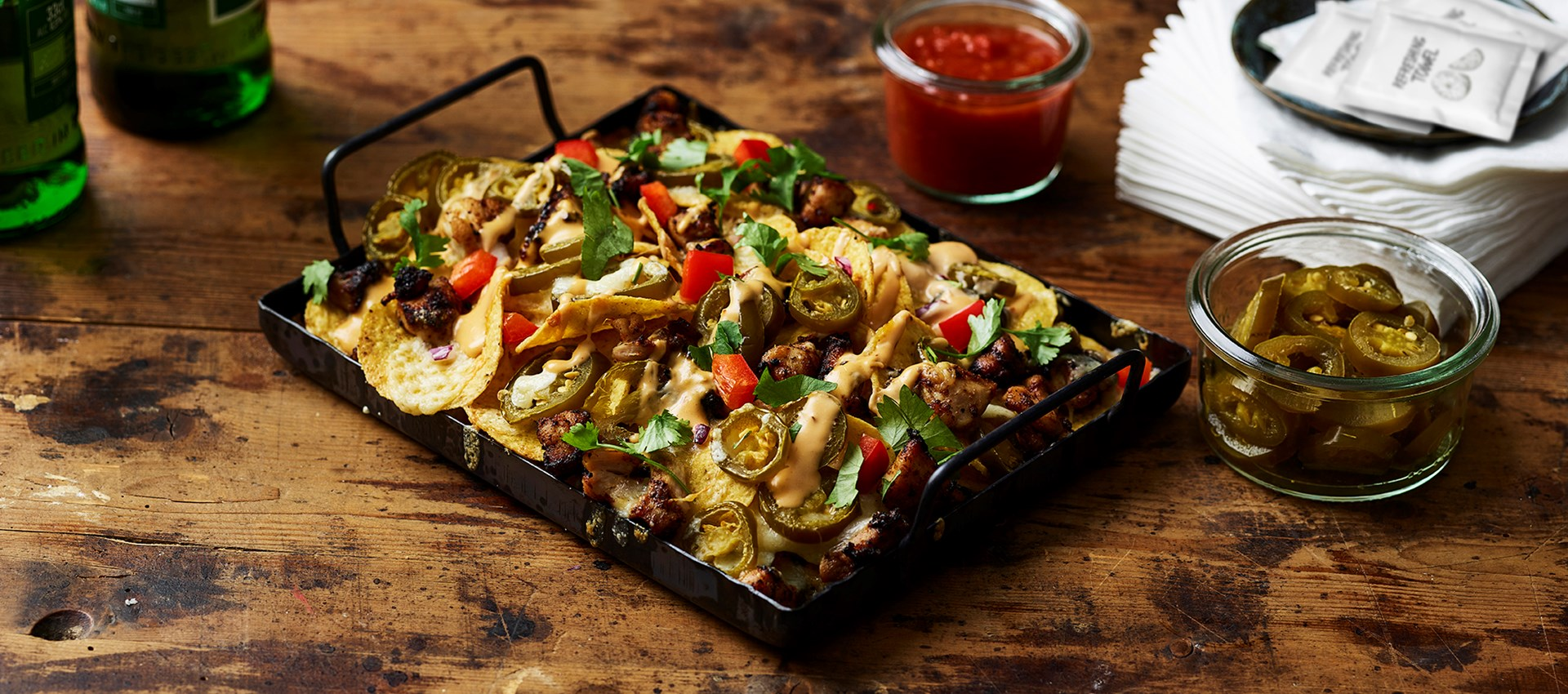 Loaded nachos met chipotle chicken