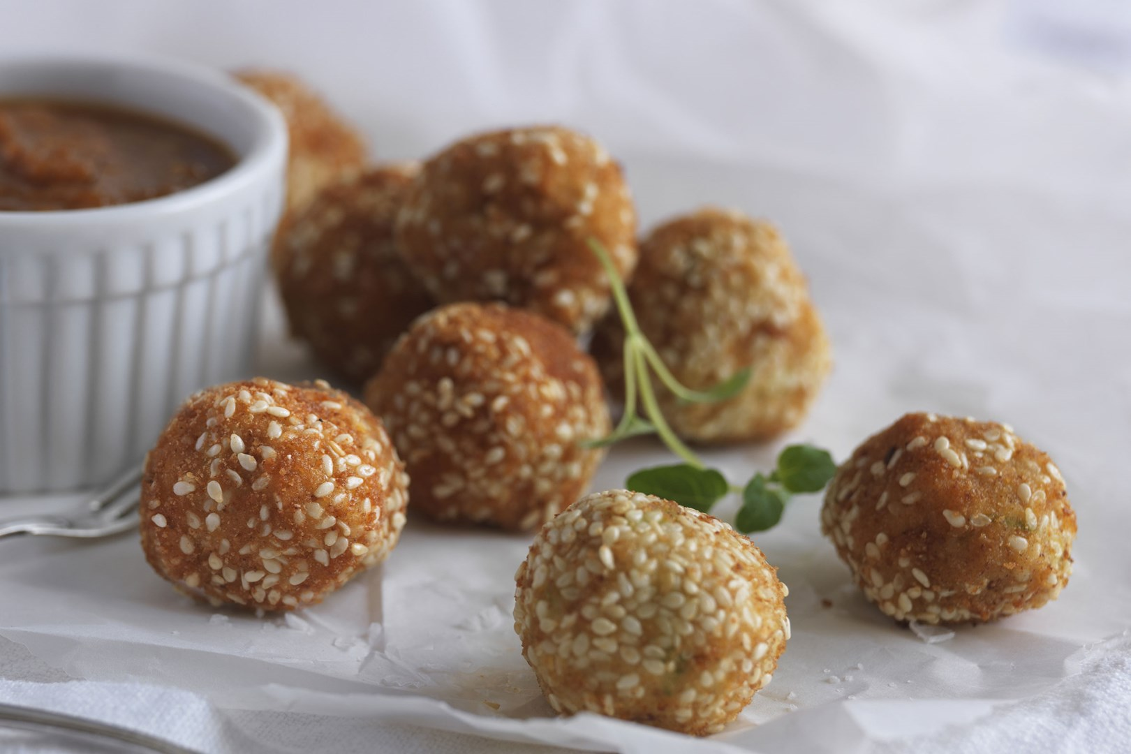 Chicken Fritters with Raisins and Chilli Dip