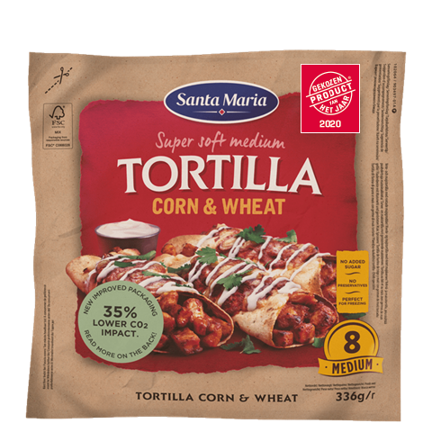 Packet with eight corn and wheat tortillas