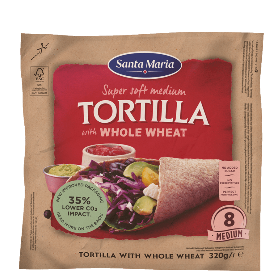 Packet with eight whole wheat tortillas