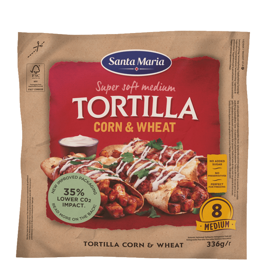 Tortilla majs & hvede Medium (8 pak)