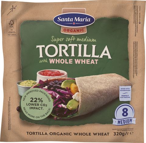verpakking met 8 organic whole wheat tortilla's