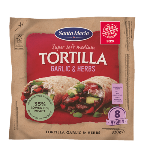 Packet with eight garlic and herb flavoured tortillas