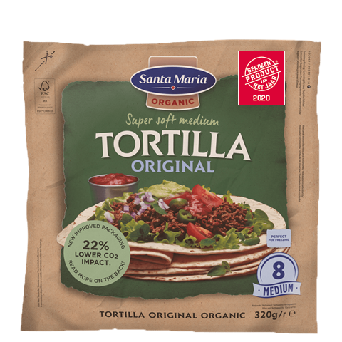 Packet with eight organic wheat tortillas