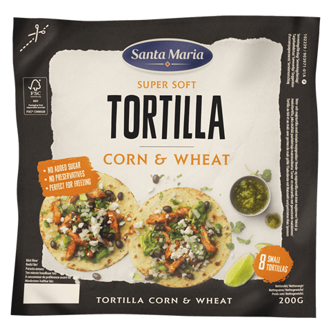 Pakkning med Tortilla Corn & Wheat Small fra Santa Maria
