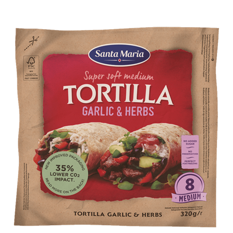 Verpakking met 8 garlic and herb tortillas