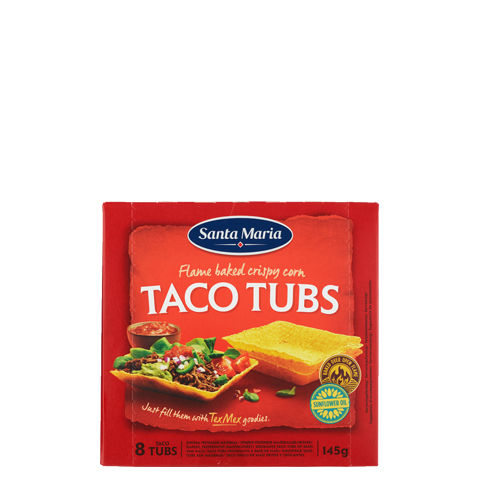 Package with bowlshaped taco tubs