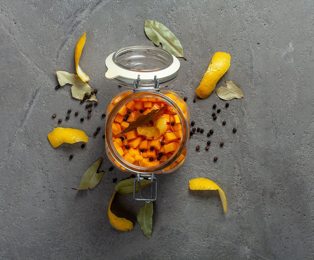 Glass jar with pickled butternut squash