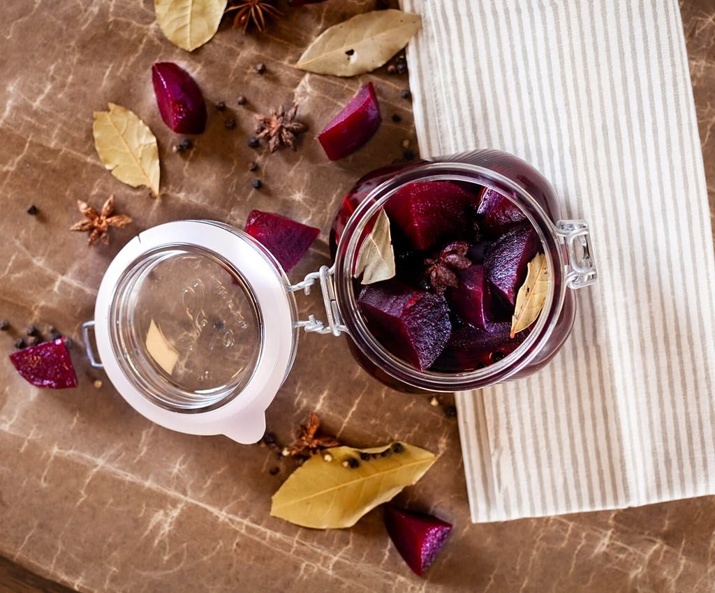 Pickled beetroots in a glass jar