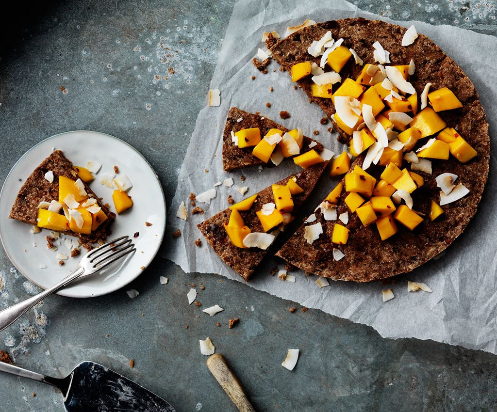 Rawfood Brownie with Mango & Coconut Flakes