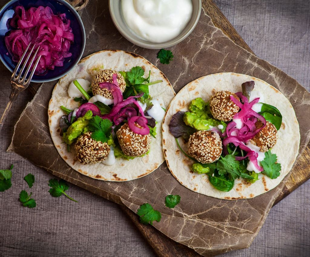 Vegan falafel in a tortilla