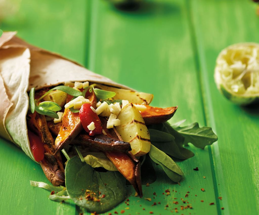 Saag Aloo Sweet Potato Wrap