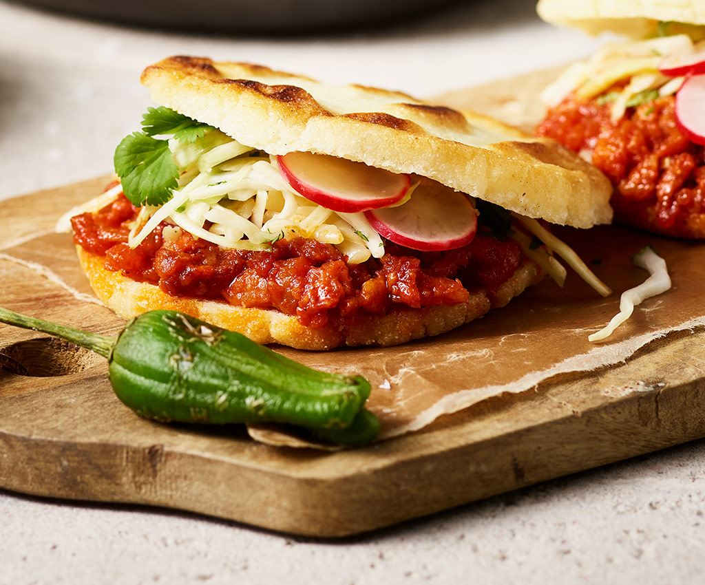 Sloppy Jose Arepas with chorizo