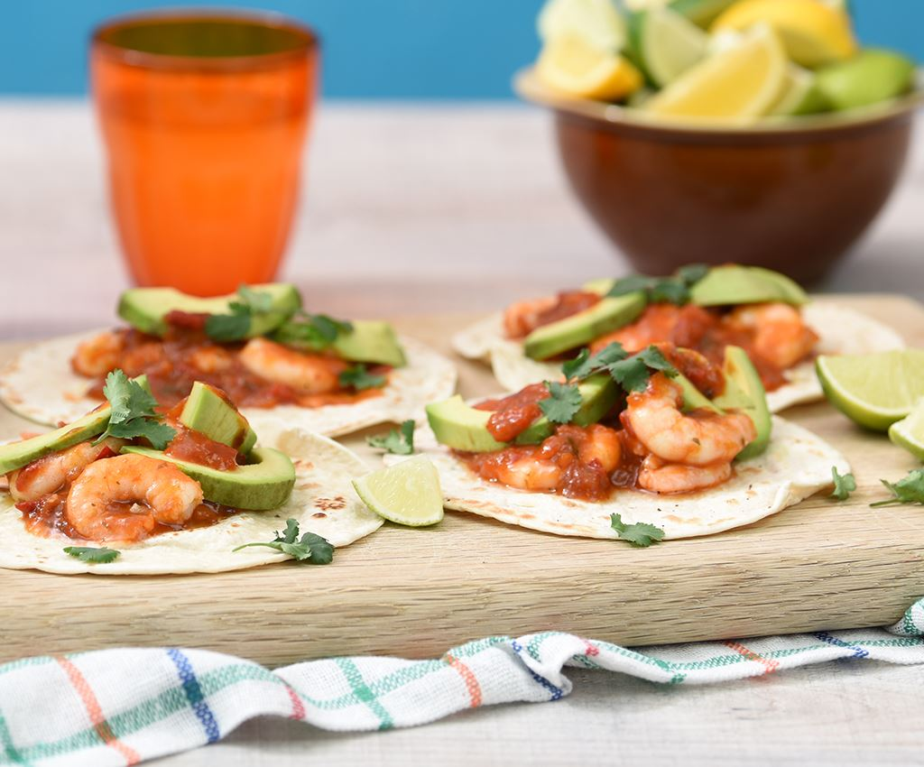 Prawn Tacos with Peruvian Garlic & Tomato Sauce