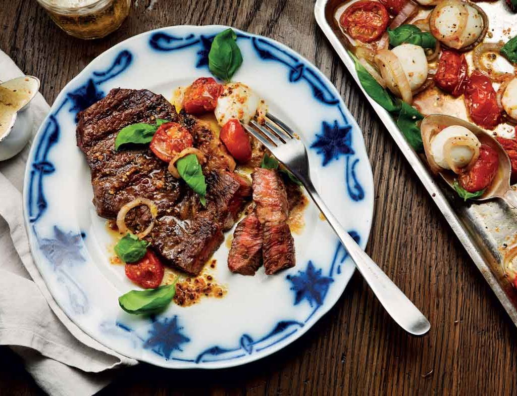 Sirloin Steak with Warm Tomato and Mozzarella Salad