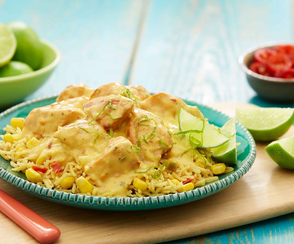 Venezuelan Coconut & Lime Chicken with Vegetable Rice