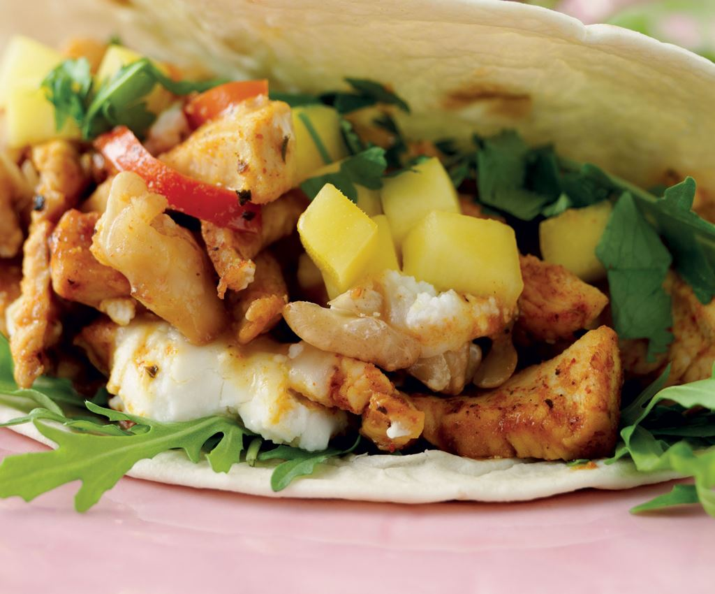 Goats Cheese Fajita filled with Spiced Chicken and Walnuts