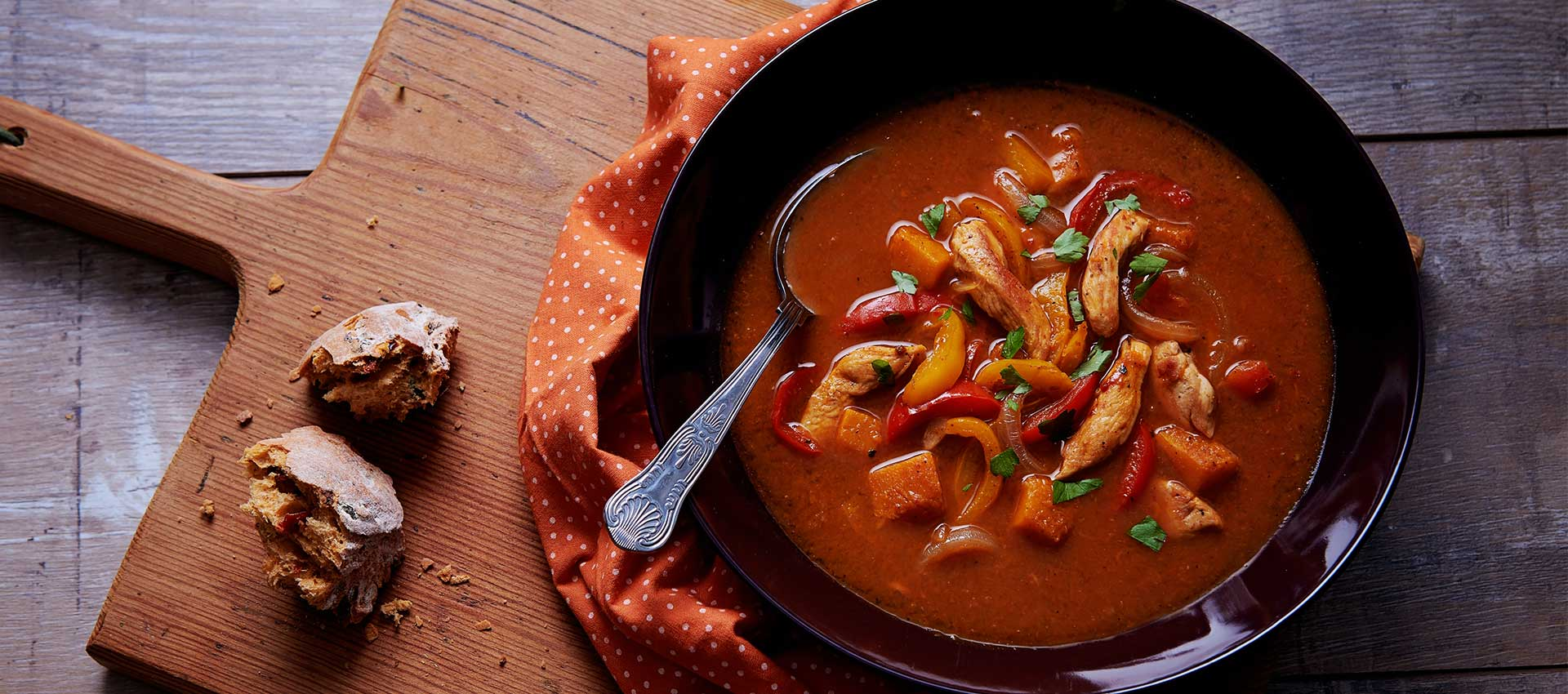 Fajita Chicken Soup with Pumpkin Pieces
