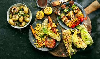 Four types of grilled sides - potatoes, veggies and kale