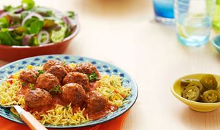 Colombian Albóndigas Meatballs with Yellow Rice