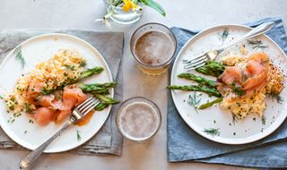 Scrambled eggs with smoked salmon and asparagus