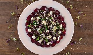 White plate with thinly sliced ​​beetroot topped with horseradish & yogurt