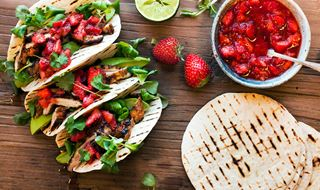 Strawberry & chipotle salsa in grilled chicken Tacos